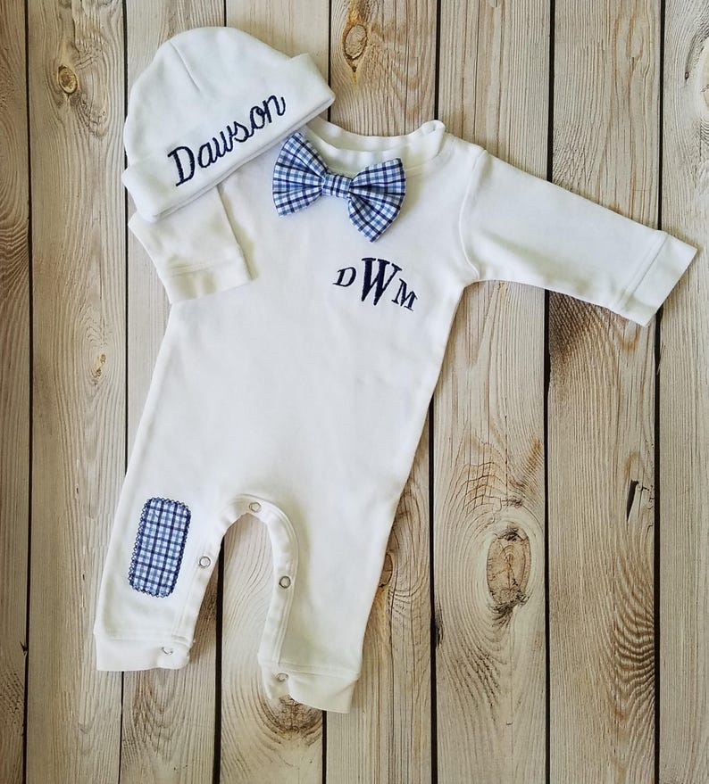 4eccf6e9ea6a Baby Boy Coming Home Outfit Baby Bow Tie Outfit Monogrammed
