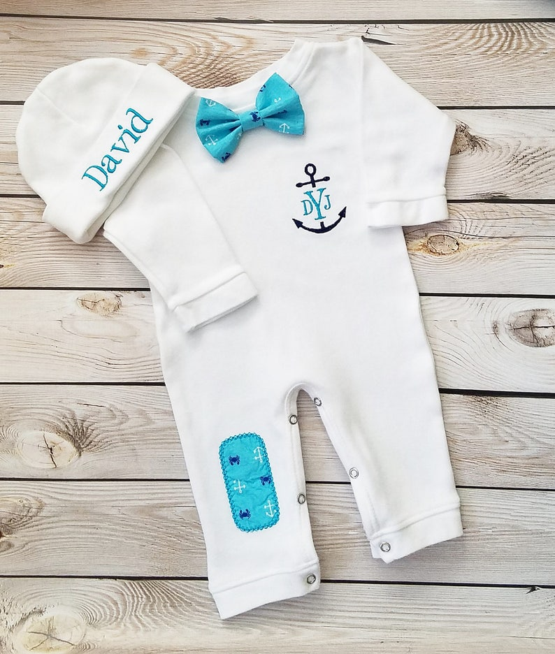 d2e909e6 Newborn Boy Outfit Baby Boy Coming Home Outfit Monogrammed   Etsy