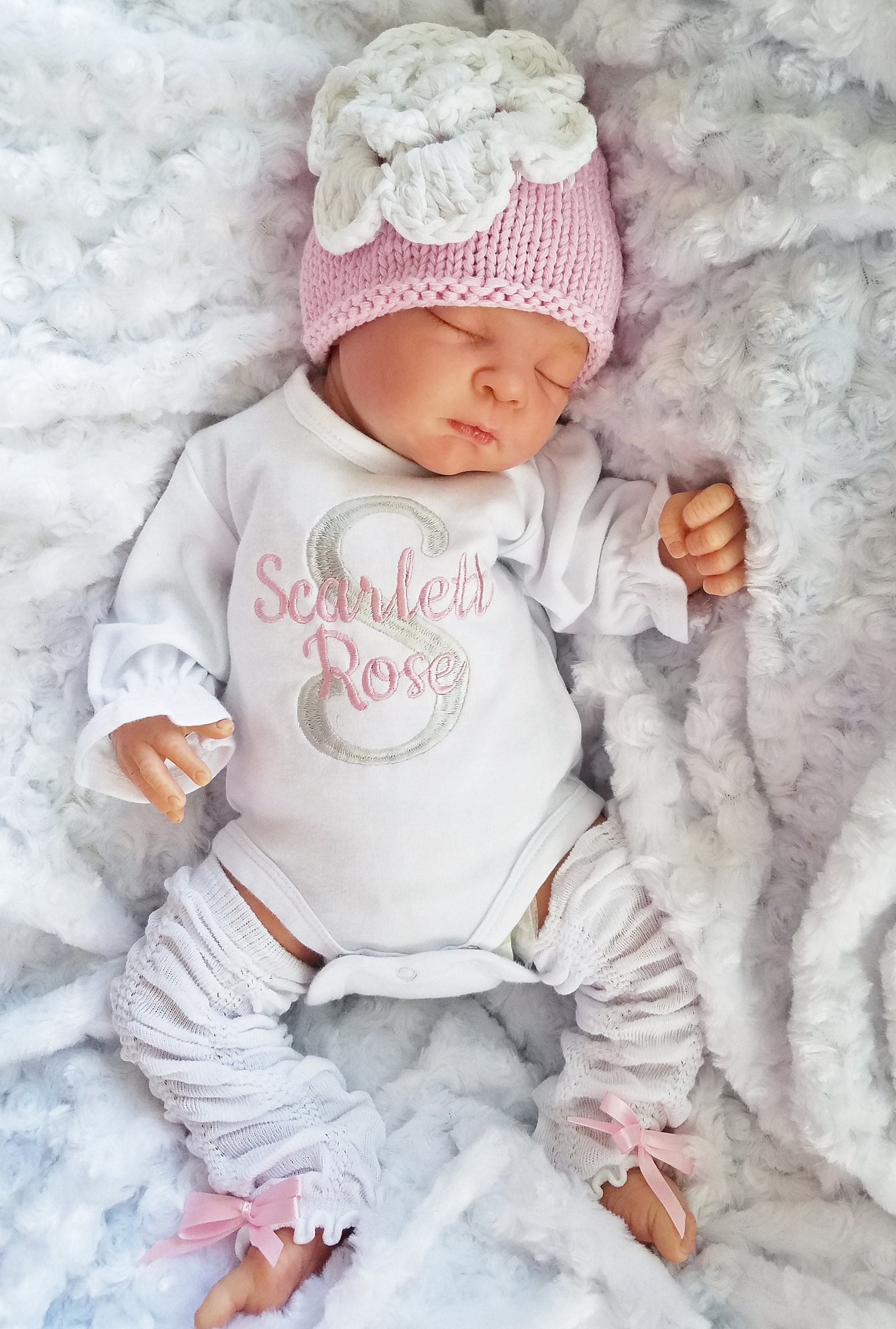 Newborn Girl Coming Home Outfit with Embroidered Monograms Pink