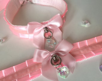 Baby Pink Thin Satin Kitten Play BDSM Collar