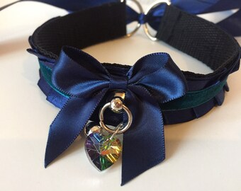Navy Thin Satin Kitten Play BDSM Collar