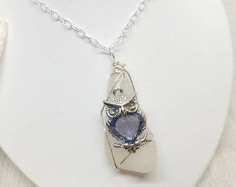 Owl seaglass necklace