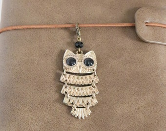 Owl Journal Charm, Gold and Bronze Zipper Pull, Pearl Bronze Charm, Planner Charm, Owl Bird Zipper Pull