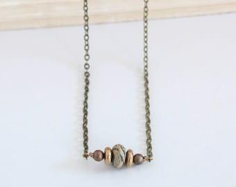 Gemstone Bronze Necklace, Simple Necklace, Dainty Necklace, Gold Accent Necklace, Bronze Jewelry, Green Gemstone Necklace, Boho Necklace