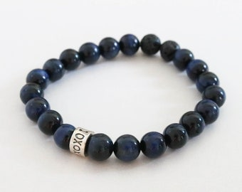 Navy Gemstone Bracelet, I Love You Bracelet, xoxo Bracelet, Blue Gemstone Jewelry, Stretch Bracelet, Diffuser Bracelet, For Her Jewelry