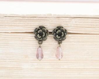 Purple Stud Earrings, Bronze Rose Earrings, Glass Bead Earrings, Drop Earrings, Dangle Earrings, Flower Stud Earrings, Simple Earrings