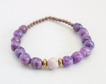 Purple Gemstone Bracelet, Brass Bracelet, Stretch Bracelet, Layering Bracelet, Gold Bracelet, Purple Jewelry, Gemstone Jewelry