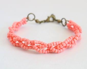 Pink Braided Bracelet, Beaded Bracelet, Bronze Jewelry, Bronze Bracelet, Pink Bracelet, Statement Bracelet, Beaded Jewelry, Beachy Bracelet