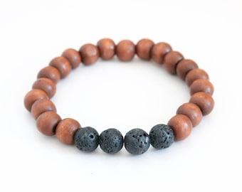 Lava Wood Bracelet, Lava Stretch Bracelet, Diffuser Bracelet, Stack Bracelet, Beaded Wood Bracelet, Black Lava Bracelet, Diffuser Jewelry
