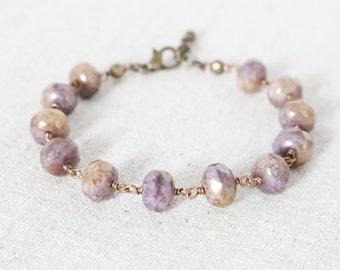 Purple Czech Bracelet, Wire Wrapped Bracelet, Purple and Taupe Bracelet, Bronze Beaded Bracelet, Plum Jewelry, Adjustable Chain Bracelet