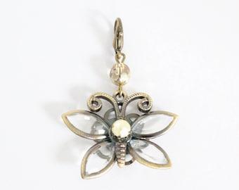 Butterfly Journal Charm, Bronze Zipper Pull, Pearl Bronze Charm, Planner Charm, Butterfly Zipper Pull