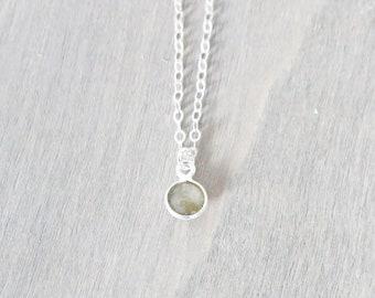Labradorite Sterling Silver Necklace, Labradorite Gemstone Jewelry, Small Pendant Necklace, Simple Circle Necklace, Minimalist Necklace