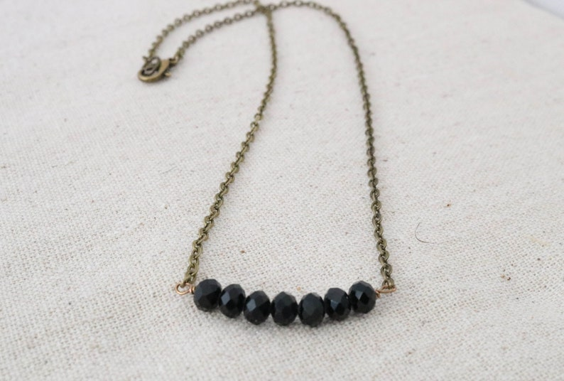 Black Beaded Necklace Simple Dainty Necklace Faceted image 0