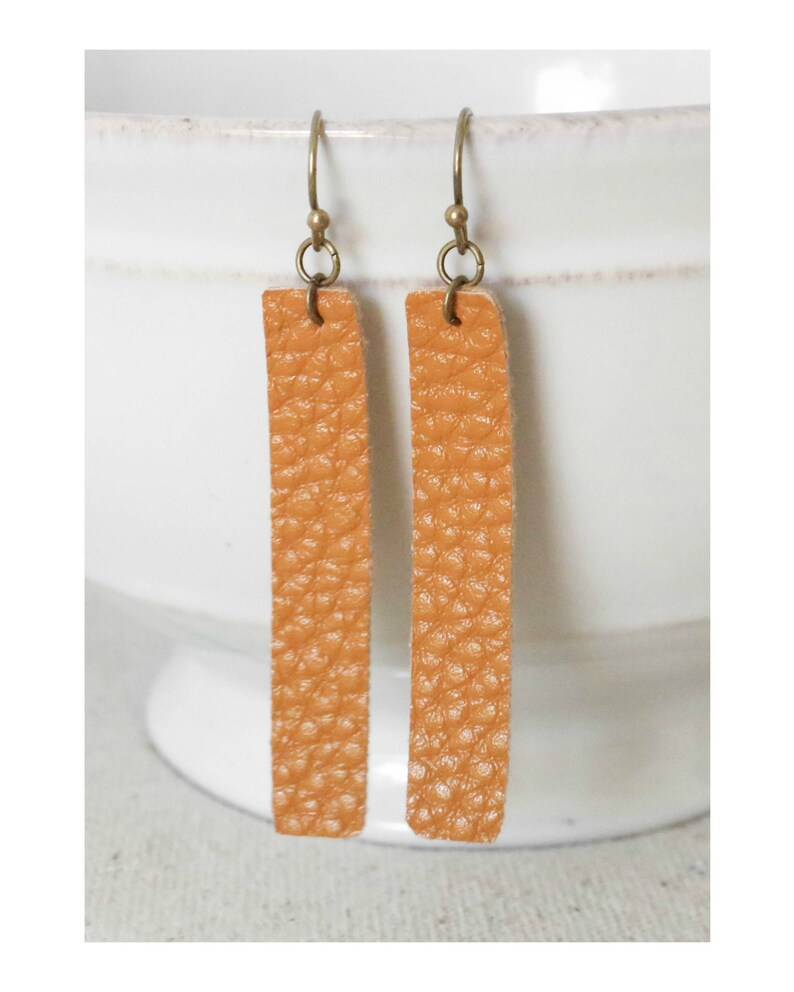 Mustard Leather Earrings Faux Leather Earrings Brown Vinyl image 0