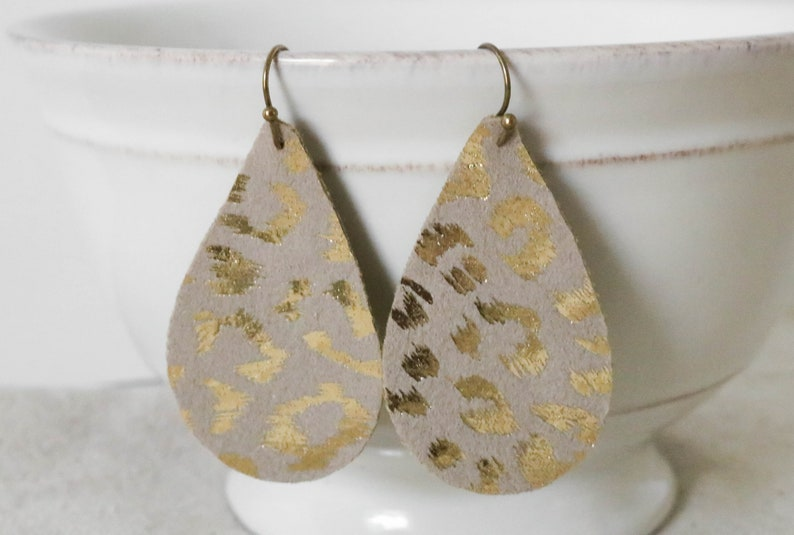 Leopard Print Earrings Faux Leather Earrings Animal Print image 0