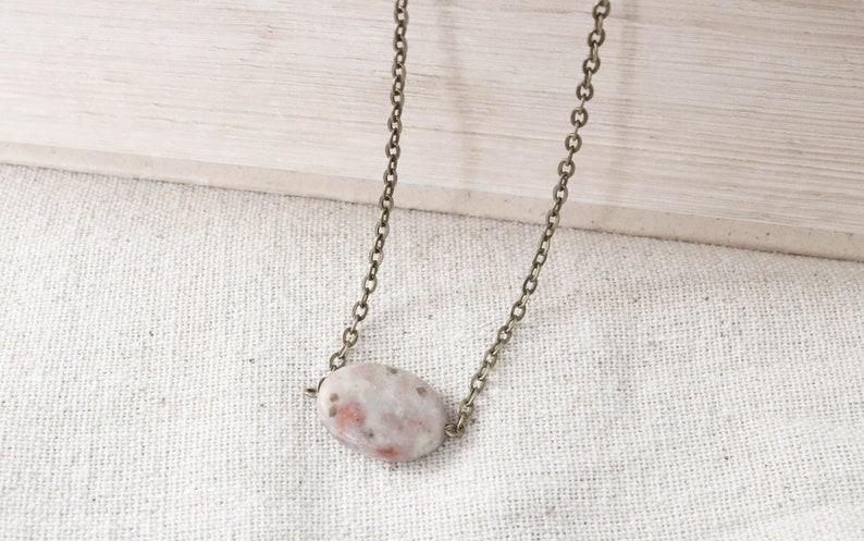Gemstone Choker Necklace Pendant Necklace Bronze Necklace image 0