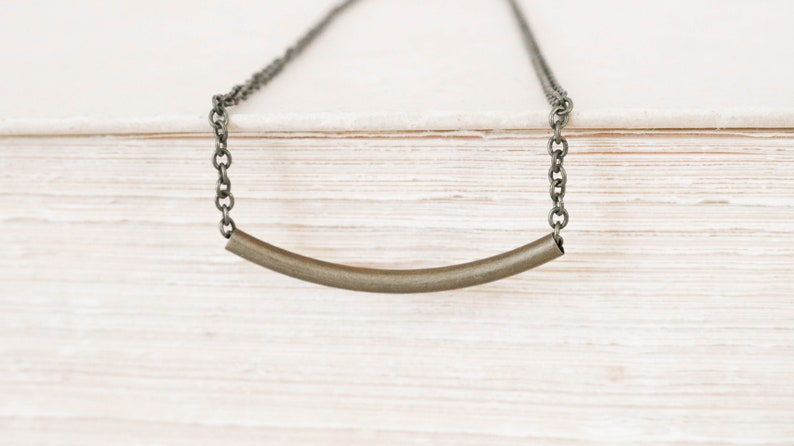 Bar Necklace Bronze Necklace Simple Choker Necklace image 0