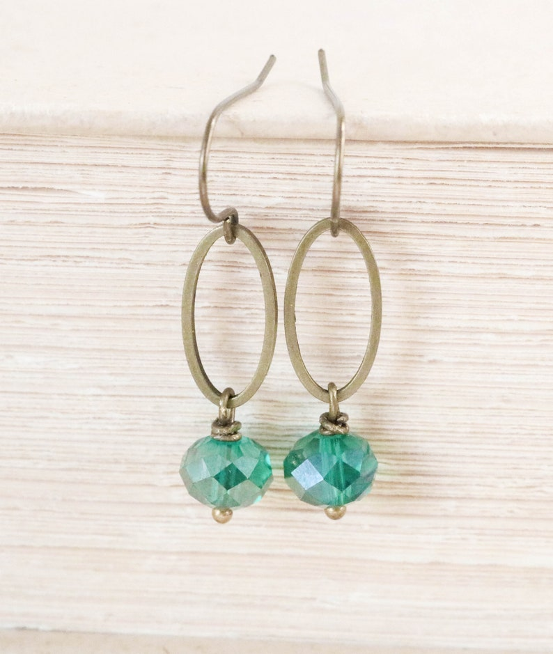 Teal Earrings Bronze Earrings for Women Dangle Drop image 0
