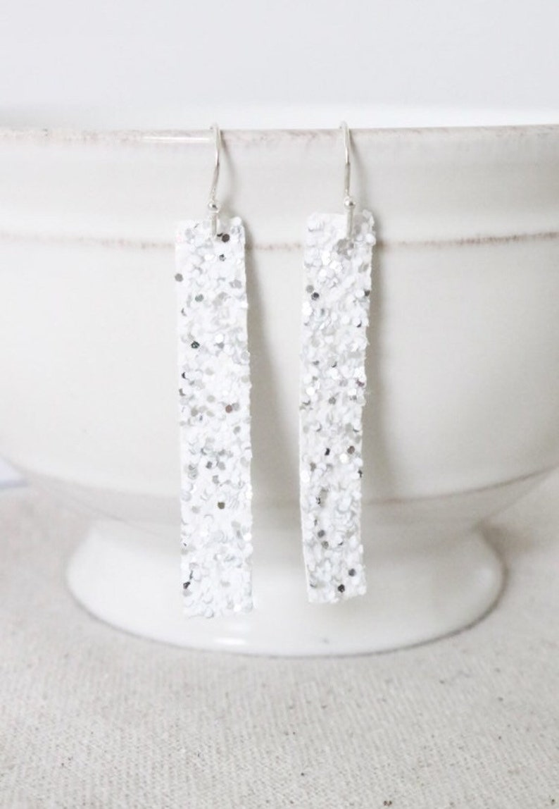 White Glitter Earrings Faux Leather Earrings Sterling Silver image 0