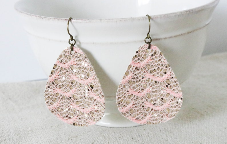 Pink Lace Earrings Gold Glitter Earrings Canvas Earrings image 0