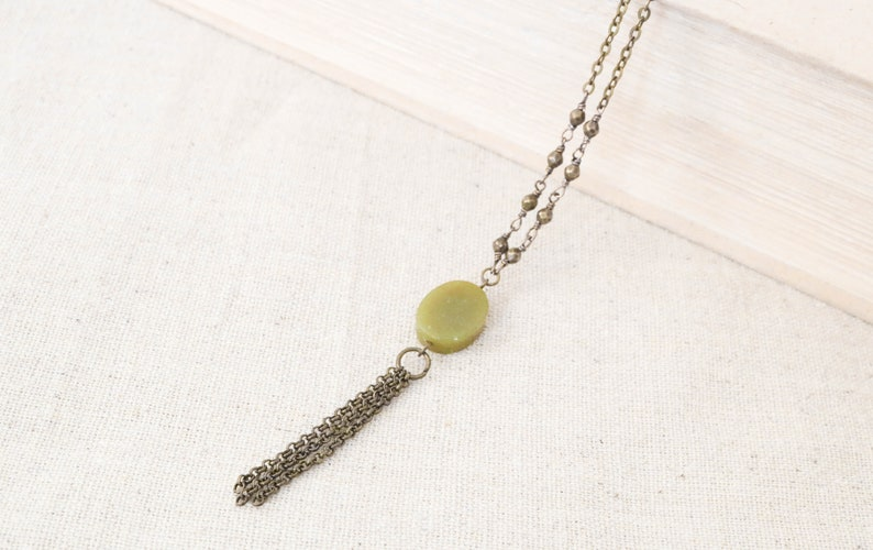 New Jade Tassel Necklace Long Necklace Bronze Jewelry image 0