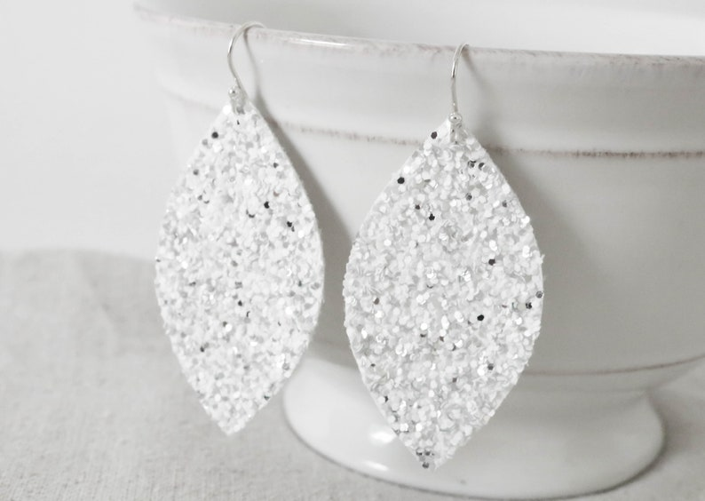 White and Silver Glitter Earrings Faux Leather Earrings image 0