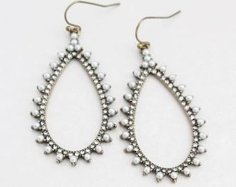 Bronze Teardrop Earrings, Pearl and Rhinestone Earrings, Drop Earrings, Dangle Earrings, Bronze Earrings, Statement Earrings, Bronze Jewelry