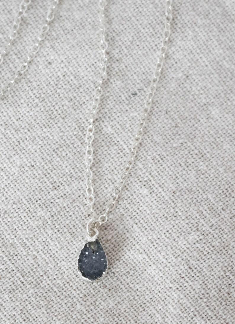 Teardrop Druzy Necklace Sterling Silver Necklace Dainty image 0