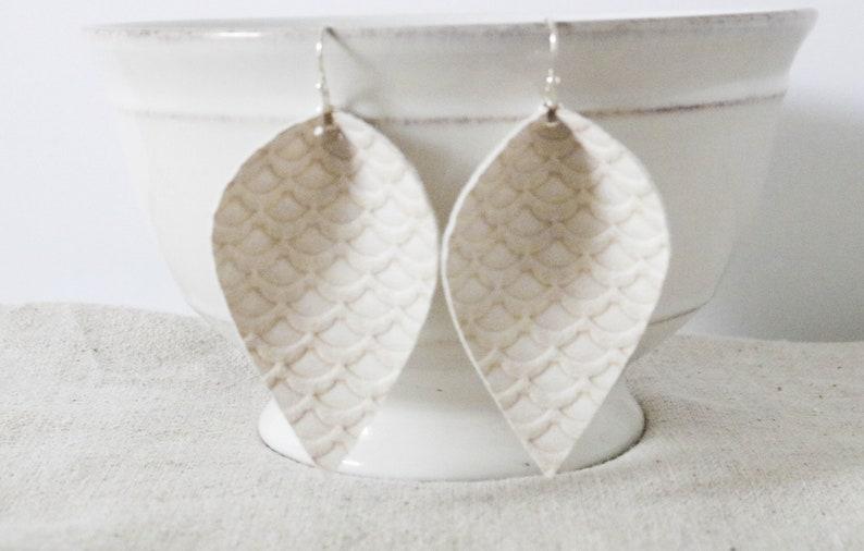 White Faux Leather Earrings Rustic Mermaid Earrings image 0