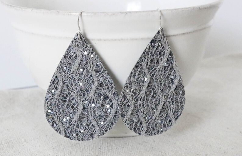 Gray Lace Earrings Canvas Fabric Earrings Faux Leather image 0