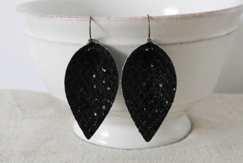 Black Faux Leather Earrings Glitter Leather Earrings Petal image 0