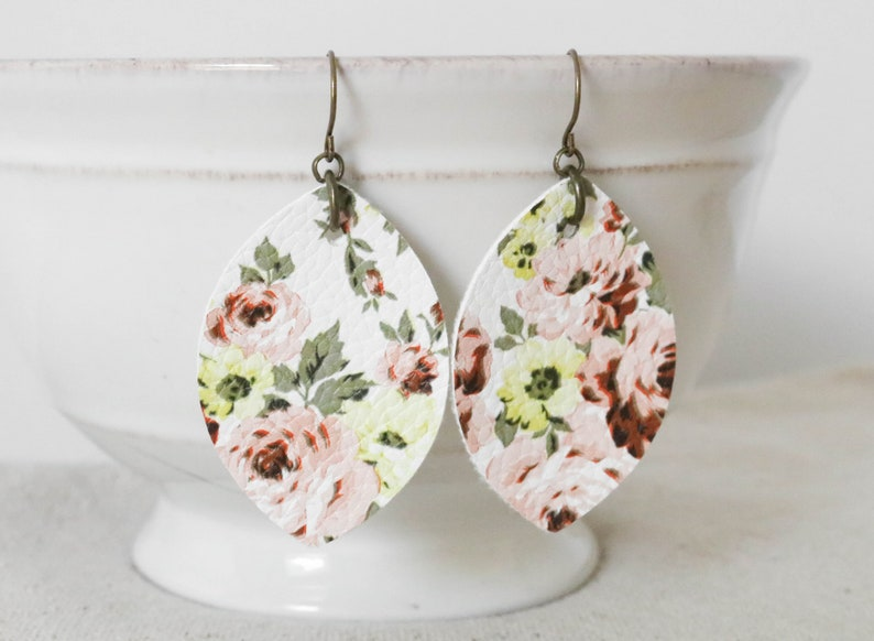 Floral Leather Earrings Faux Leather Earrings Leaf Earrings image 0