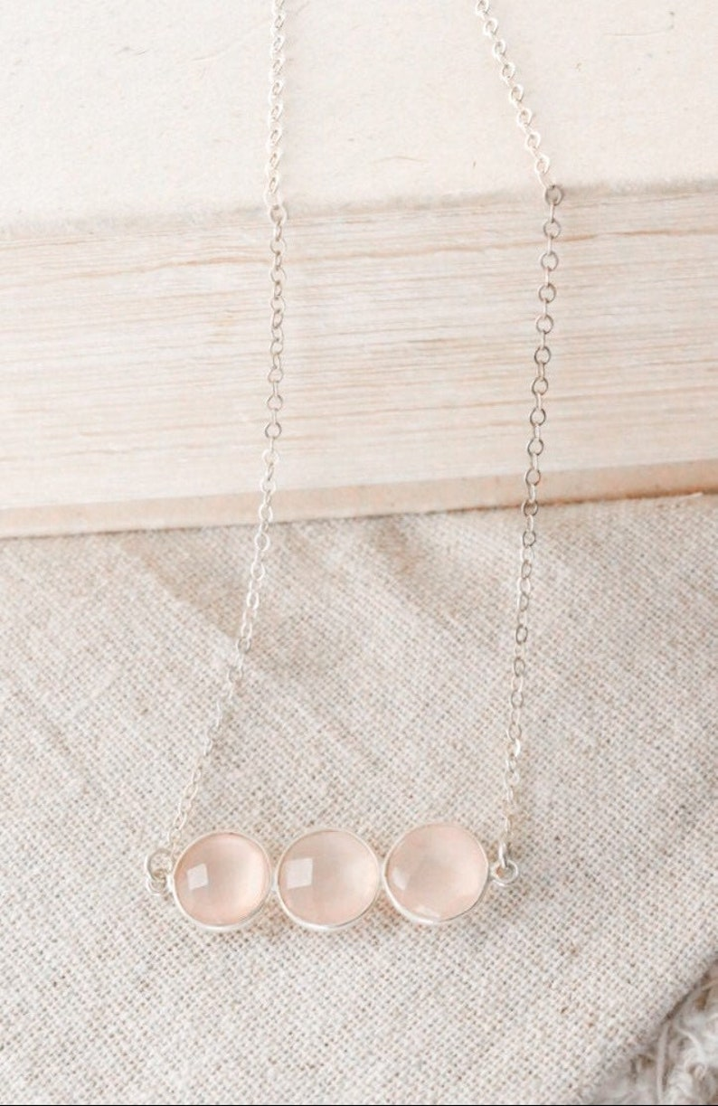 Pink Chalcedony Silver Necklace Sterling Silver Necklace image 0