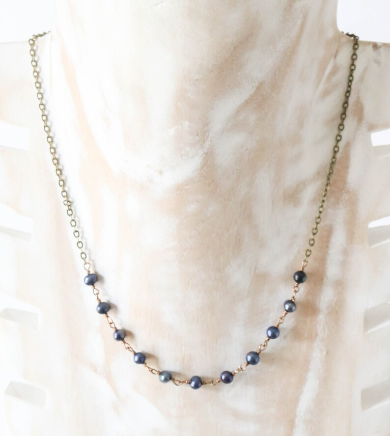 Freshwater Pearl Necklace Blue Beaded Necklace Wire Wrapped image 0
