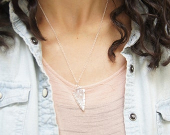 Crystal Quartz Arrowhead Sterling Silver Necklace - Arrow head, Arrowhead Necklace, Pendant, Boho, Tribal, Bohemian Necklace, Gift for Her