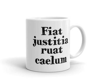 Coffee Mug - Fiat Justitia Ruat Caelum - Law School Graduation Gift - Birthday Gift - Attorney Gifts - Lawyer Gifts - Law Firm Gifts