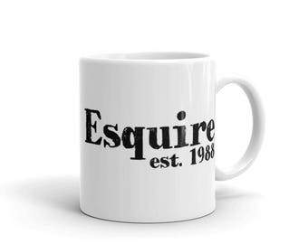 Coffee Mug - Esquire 1988 - Attorney Gifts - Lawyer Gifts - Law Firm Gifts - Law School Reunion Gift - Birthday Gifts - Law Firm - Judge