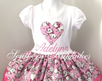 20505e195a0 Pretty Girls Marie the Cat Aristocats Twirl dress and Hair Bow Pageant  Boutique New Custom Handmade Personalized Birthday Party All Sizes