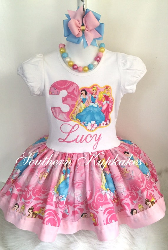 Girls Birthday Princess Disney Princesses Party Inspired Aurora Snow White Belle Cinderella Boutique Dress Custom 2nd Second 3rd 4th 5th