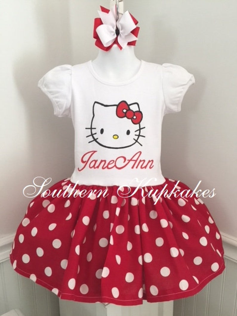 3e3ff3019aa2 Purrfect Kitty Cat Red and white Polka Dot Handmade Hello