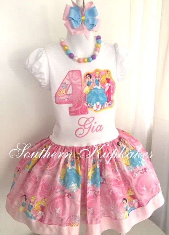 Disney Princess Birthday Party Inspired Aurora Snow White Belle Cinderella Boutique Girls Dress Custom 2nd Second 3rd Third 4th fourth 5th