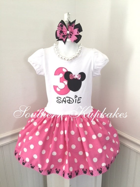Girls Minnie Mouse Disney Inspired 3rd Third 2nd Second 4th Fourth Birthday Twirl Dress Custom Boutique Party All Sizes Pink White Polka