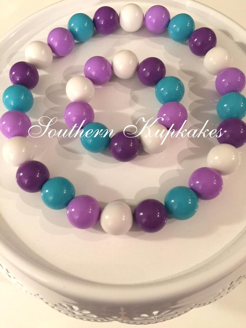 Purple Aqua White Lavender Girls Handmade Custom Made to Match Chunky Gumball Necklace /& Bracelet Bubblegum Jewelry Beaded Pageant Boutique