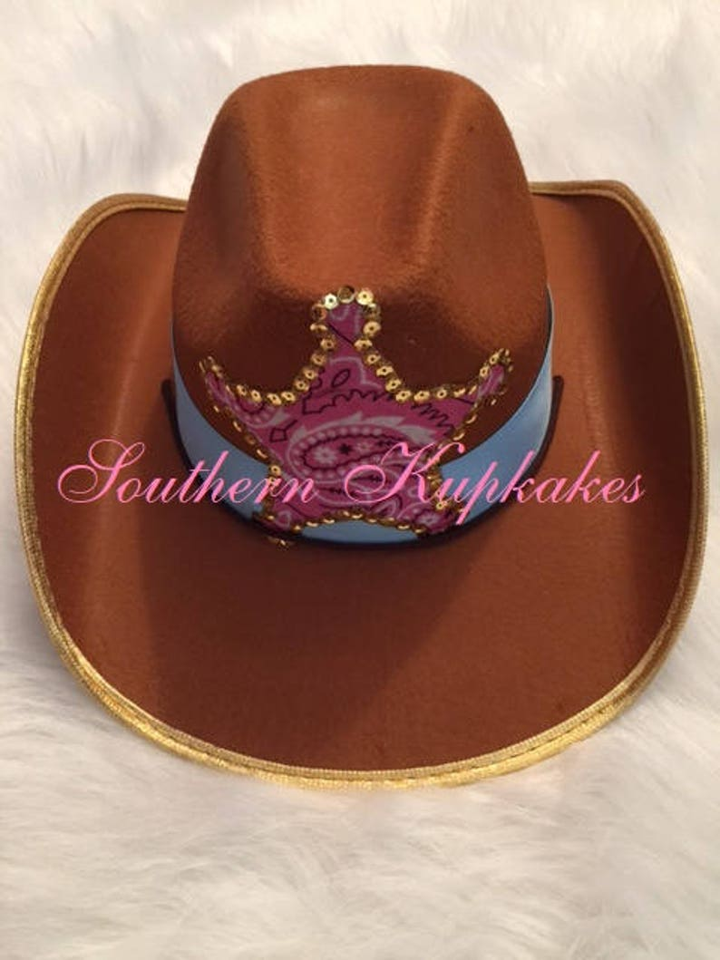 b8abf118515b80 Brown GIRLS COWGIRL HAT Western Wear Cowboy Chin Strap Custom   Etsy