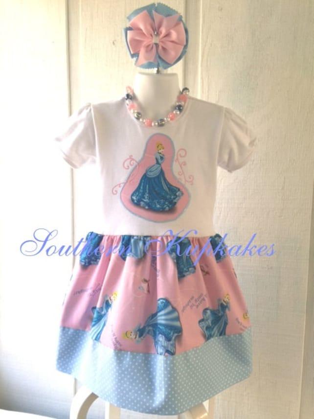 f645d83ca DISNEY Custom CINDERELLA Girls Summer 2pc Dress & Hair Bow / Headband  Boutique Pageant Infant Toddler Girls New NWT Pink Blue ... Carter's Baby  Boys ...
