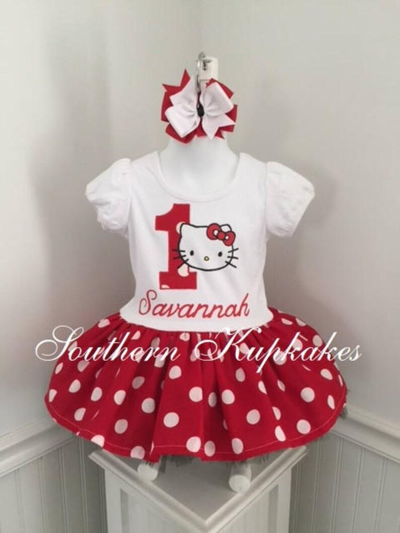 784a46b54a46 Girls Kitty Cat Kitten Birthday Custom Handmade Boutique Dress