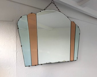 Art Deco Spiegel : Vintage oval art deco spiegel mit gewellten rändern schöne etsy