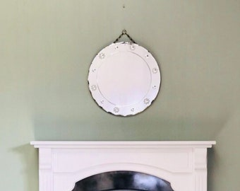 Round Frameless Mirror, Beautiful Vintage Scalloped Mirror Hanging Mirror With Some Scratches And Patina.