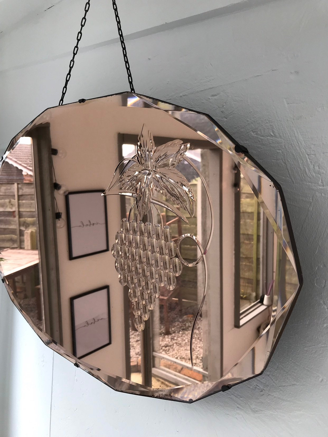 Reserved Robin Rose Gold Art Deco Mirror With Metal Clasps Berries Etched Under Glass