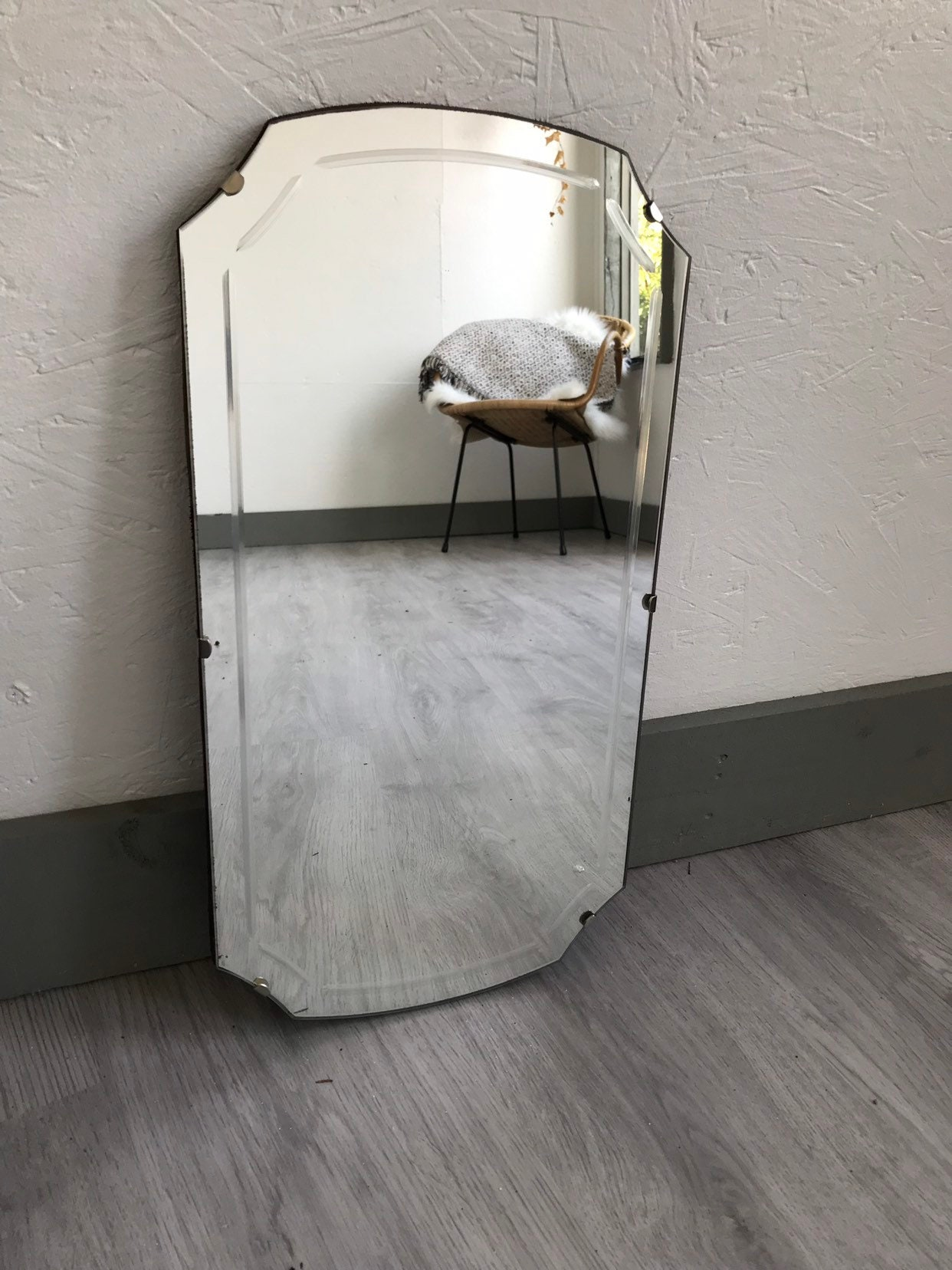 Lovely Art Deco Style Morror Vibtage Looking Etched Mirror